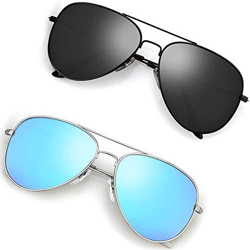 Polarized Aviator Sunglasses for Men/Women Metal Mens Sunglasses Driving Sun Glasses U2 2 Pack Black Frame Grey Lens / Silver Frame Blue Lens