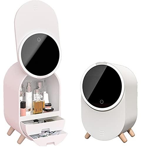 SDFAWEFA Caja De Almacenamiento De CosméTicos, PequeñA Vitrina De Maquillaje, con Luz Led/Espejo/Tipo De CajóN, para Tocador De Encimera, Dormitorio