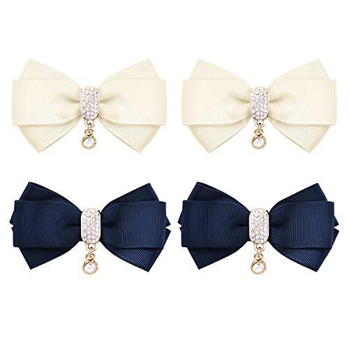 Elegantpark 2 coppie noi Decorativo fiocchi fermagli per scarpe Gioielli Decorazione di scarpe Charms Accessori per matrimoni blu navy&avorio