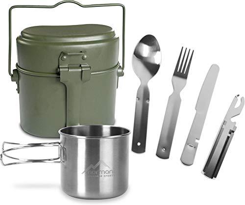 normani Bundeswehr Essgeschirrset Bund Essbesteck + BW Aluminium Kochgeschirr + Edelstahltasse Farbe Oliv 3