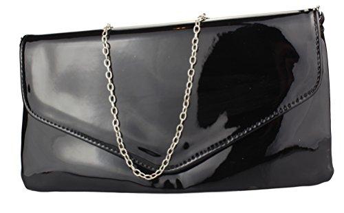 2Store24 Envelope Clutch Lack Damen Handtasche Abendtasche in schwarz