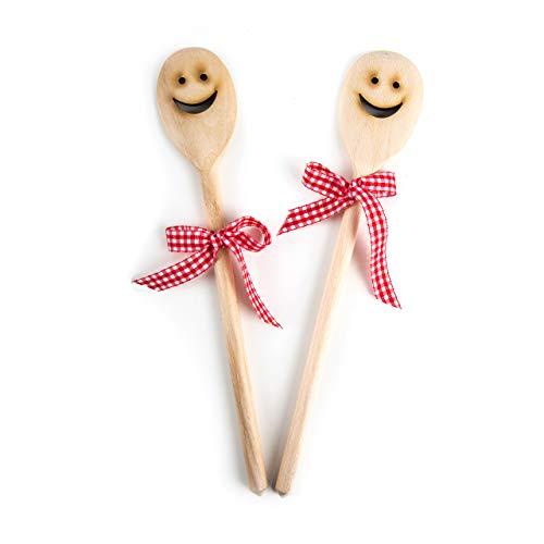 Lot de 2 cuillères de cuisine en bois avec inscription en allemand « LACHENDES GESICHT SMILIE » en cadeau pour invités Cadeau de Noël Anniversaire Mariage Cadeau