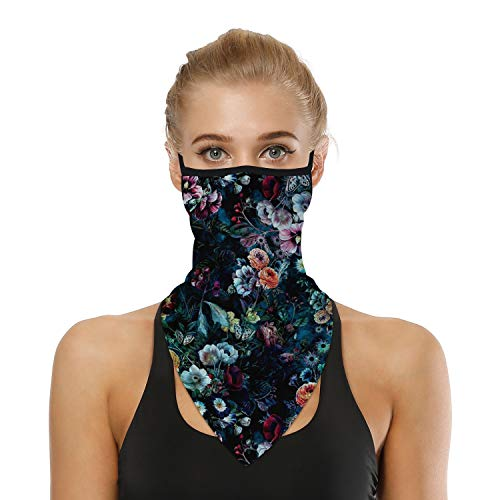 SRVOKOX Colorful Flowers Boho Floral Bandana Neck Gaiter Face Mask Covering Bandanas for Men Women Summer UV Cooling Face Scarf Mask Cover Ear Loop Hole Triangle Facemask Headwear for Fishing Running