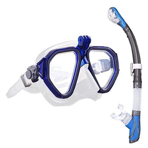 ROVLAK Schnorchelset Schnorcheln Set Erwachsene mit Taucherbrille und Dry Schnorchel Schnorchelset Tauchermaske mit Anti-Fog Resistant Panoramic Tempered Glass Schnorchelset für Erwachsene, Blau