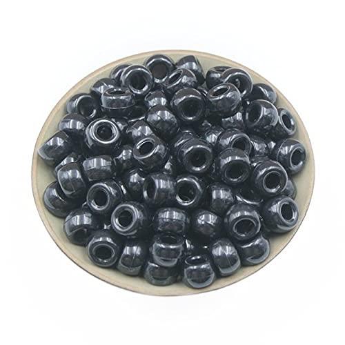 500pcs 6x9mm Acrílico Agujero grande Cuentas redondas Color sólido Cuentas sueltas Bolsa Decoración Accesorios de vestir Accesorios de joyería de bricolaje-China, Negro