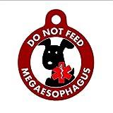 Sunptoo Etiquetas divertidas para mascotas, etiqueta personalizada de identificación de perro, no alimentar, perro negro megaesófago, etiqueta de mascota personalizada, etiqueta de perro