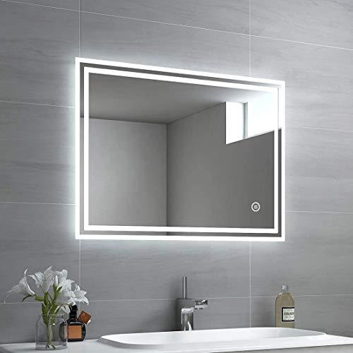 Espejo de baño EMKE LED, 80 x 60 cm, con iluminación, 3 Colores de luz 3000-6400 K, Blanco frío, Blanco Neutro, Blanco cálido, Espejo con Interruptor táctil + antivaho IP44, Ahorro energético