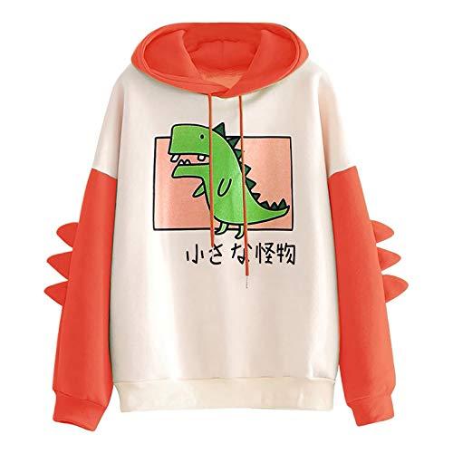 Pianshanzi Kawaii, felpa da donna con cappuccio, autunno/inverno, calda, con dinosauro, a maniche lunghe, per la casa, Colore: arancione., XXXL