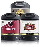 Assortiment 3 fûts 6 litres : Leffe Blonde - Jupiler - Stella Artois / 15 euros de consigne inclus