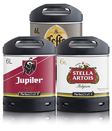 Pack 3 fûts de 6 litres - Compatibles avec la tireuse Perfectdraft - 15 euros de consigne INCLUS (Stella Artois - Jupiler - Leffe Blonde)