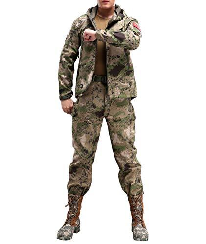 YuanDian Hombre Otoño Invierno Tactica Camuflaje Chaqueta y Pantalones Conjunto de 2 Piezas Senderismo Trekking Caza Impermeable Militar Vellón Softshell Abrigos y Pantalones Ruina Verde 2XL