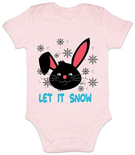 Hariz - Body de manga corta para bebé, con diseño de conejo de nieve, Navidad, regalos de Navidad, tarjetas de regalo de algodón de azúcar, color rosa 3-6 meses