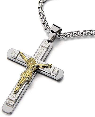 YOUZYHG co.,ltd Collar con Colgante de Cruz crucifijo Grande para Hombre en Acero, Plata, Oro, Dos Tonos con Cadena de Grano de Acero de 30 Pulgadas
