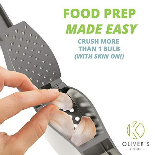 Presse-Ail Premium Oliver's Kitchen – Très Facile à Utiliser et à Nettoyer – Pile l'ail et le Gingembre Sans Effort (Inutile de le Peler) – Conçu Pour Durer – Très Solide et Durable