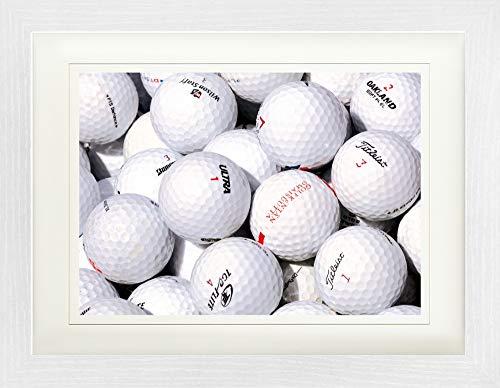 1art1 Golf - Golfbälle Gerahmtes Bild Mit Edlem Passepartout | Wand-Bilder | Kunstdruck Poster Im Bilderrahmen 40 x 30 cm