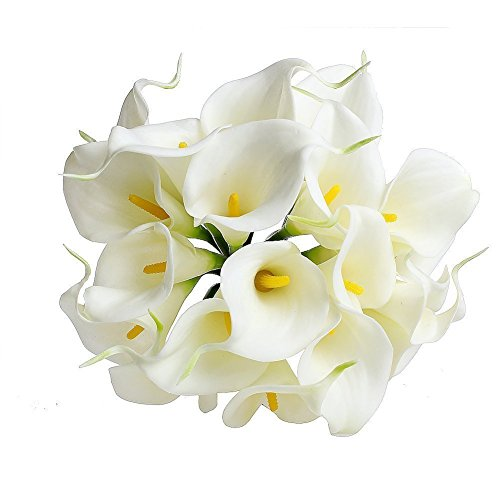 Kingtoys 10PCS PU Artificiale Avorio Calla Lilies Real Touch Latex Piante Fiori per la Cerimonia Nuziale per la Decorazione Domestica