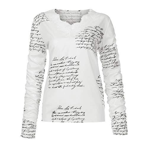 Yowablo blusen Tunika Oberteile Bluse Hemd Hemden longblusen Hemd Frauen Winter Spleißen Mode Spitze V-Ausschnitt Spitzendruck Lässig Langarm Top ( XL,1weiß )