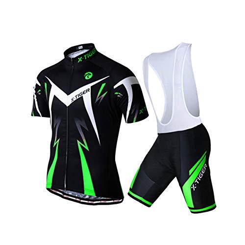 X-TIGER da Ciclismo Uomo 5D Gel Salopette Pantaloncini Corti Imbottiti Set di Abbigliamento Ciclista (2XL, Verde Maglia+Pettorina Pantaloncini Corti)