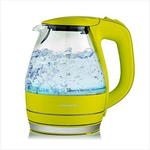 Ovente Portable Electric Glass Kettle 1.5 Liter with Blue LED Light and Stainless Steel Base, Fast Heating Countertop Tea Maker Hot Water Boiler with Auto Shut-Off & Boil Dry Protection, Green KG83G