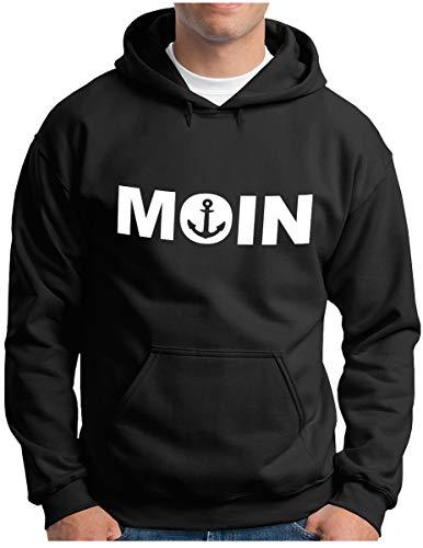 OM3® Moin mit Anker Hoodie - Herren - Slogan Spruch Küste Statement - Kapuzen-Pullover Schwarz, XL