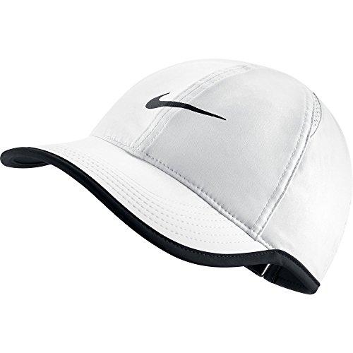 NIKE Women's AeroBill Featherlight Tennis Cap, White/Black/Black, One Size