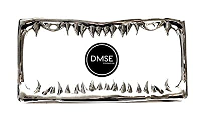 DMSE Universal Metal Shark Tooth Teeth Jaws License Plate Frame Cool Design For Any Vehicle