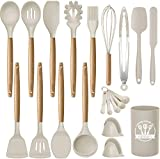 wood and silicone spatula - Kinfayv Silicone Cooking Utensils Kitchen Utensil Set, 21 PCS Wooden Handle Nontoxic BPA Free Silicone Spoon Spatula Turner Tongs Kitchen Gadgets Utensil Set for Nonstick Cookware with Holder (Khaki)