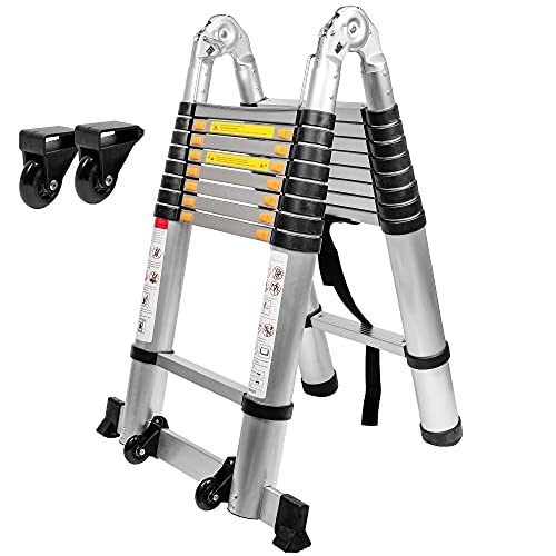 BEETRO 18.4ft Aluminum Telescoping Ladder with Wheels, A Type Portable Telescopic Extension Ladder...