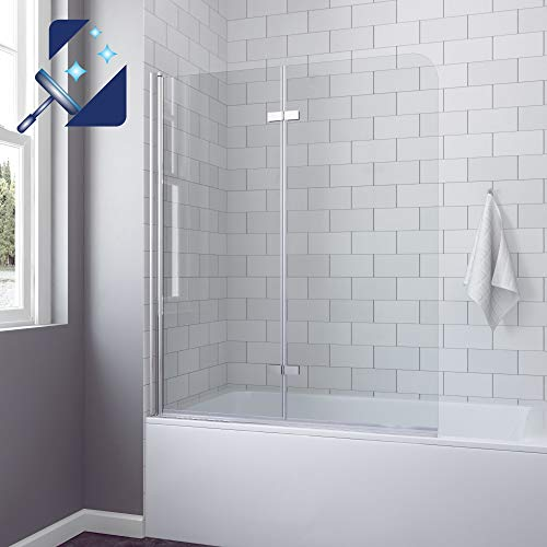 AQUABATOS® 120 x 140 cm Duschtrennwand für Badewanne Badewannenfaltwand Badewannenaufsatz chrom Dusche faltbar Duschwand Glas Faltwand aus 5 mm Einscheiben Sicherheitsglas Echtglas Nano Beschichtung