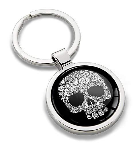 Biomar Labs® Schlüsselanhänger Metall Keyring mit Geschenkbox Autoschlüssel Geschenk Metall-Schlüsselanhänger Schlüsselbund Edelstahl Schädel Totenkopf KK 193