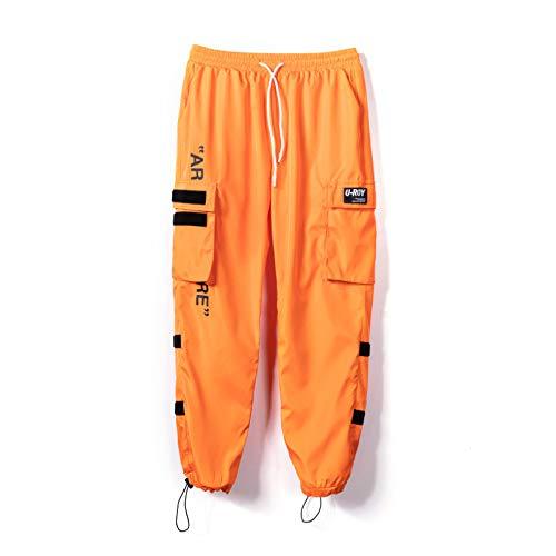 Herrenhose Kordelzug Mode gedruckt Loose Work Clothes Hip-Hop Blousonhose mit Mehreren Taschen Outdoor-Wander-Fitnesshose M