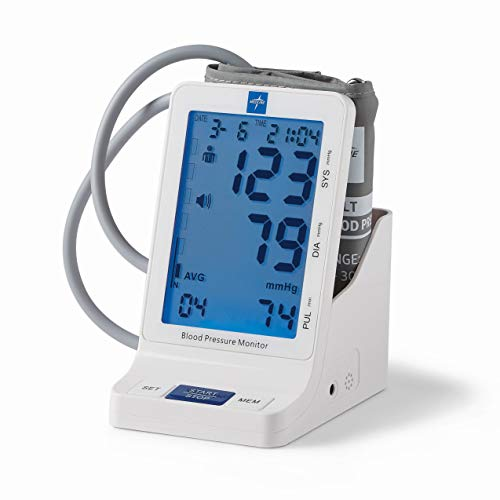 Medline Elite Bedside Talking Automatic Digital Blood Pressure Monitor with Universal Upper Arm Cuff (fits arms 22-42 cm), AC Adapter and Batteries, Alarm and Extra Large Backlit Display, MDS5001