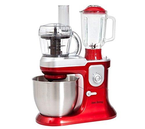 Innoliving INN-721 Impastatrice con Frullatore e Robot da Cucina, 1200 W, 6.5 Litri, Plastica, Rosso