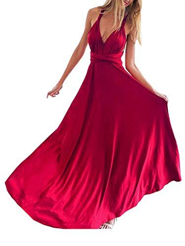 ShallGood Vestido Largo de Fiesta Cóctel Boda para Mujer Dama de Honor Vestido Noche Elegante Sin Respaldo Ajustado Falda Larga Sin Mangas Maxi Vestidos