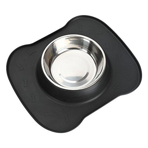 Hundenapf, kein Verschütten, rutschfeste Silikonmatte, Wassernapf, Edelstahlnapf für Hundefuttergetränk (L, Black)