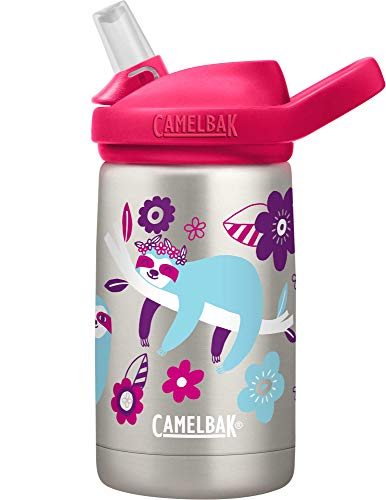 CamelBak Eddy+ Kids Water Bottle, Vacuum Insulated Stainless Steel with Straw Cap, 12 oz, Flowerchild Sloth - Spill-Proof When Open, Leak-Proof When Closed (2284103040)