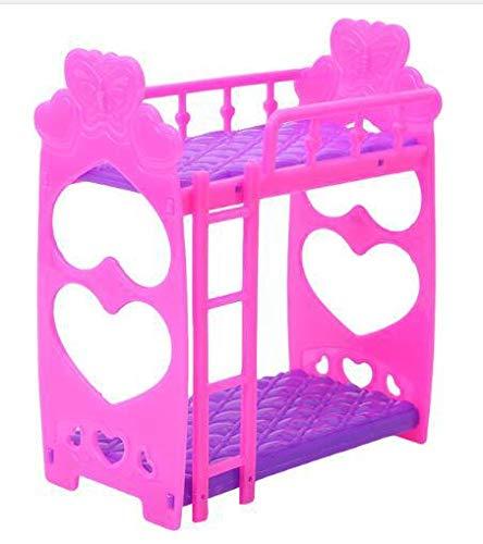 Metermall Home Metermall Home schattige 3,5-inch kunststof tweepersoonsbed Frame voor pop Slaapkamermeubilair Accessoires Paars roze of roze gele kleur Willekeurig