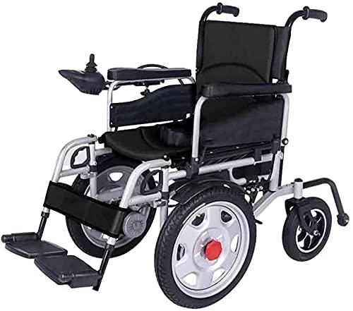 MENG Silla de Ruedas Eléctrica Multi-Terreno Silla de Ruedas Portátil Portátil Dual-Motor Frente Big Wheel Scooter Silla de Ruedas Asistida para Ancianos con Discapacidades,Negro