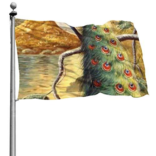 N/A Pintura hecha a mano, diseño de cola de pavo real, banderas de jardín de temporada, decoración para interiores y exteriores (4 x 6 pies)