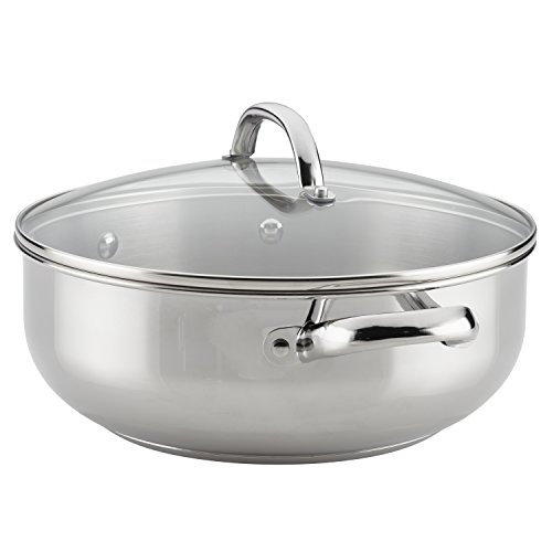 Farberware Buena Cocina Stainless Steel Dish/Casserole Pan with Lid, 6 Quart, Silver