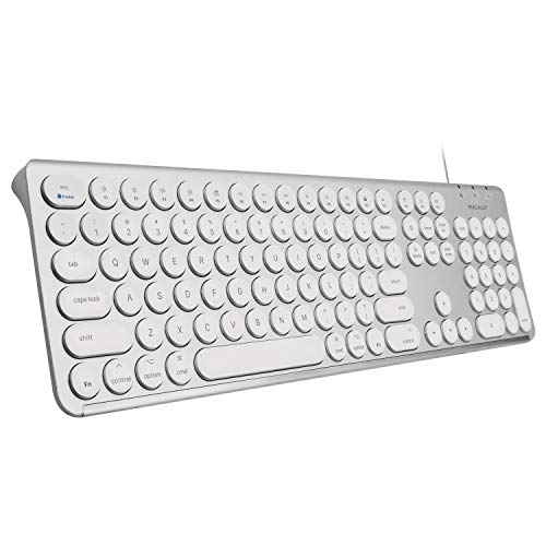 Macally USB Mac Wired Keyboard - Unibody Aluminum Frame with 107 Round Keys, 21 Shortcuts, and Numeric Keypad - Enhance your Workspace and Type Comfortably - Slim USB Keyboard for Mac | iMac | Macbook