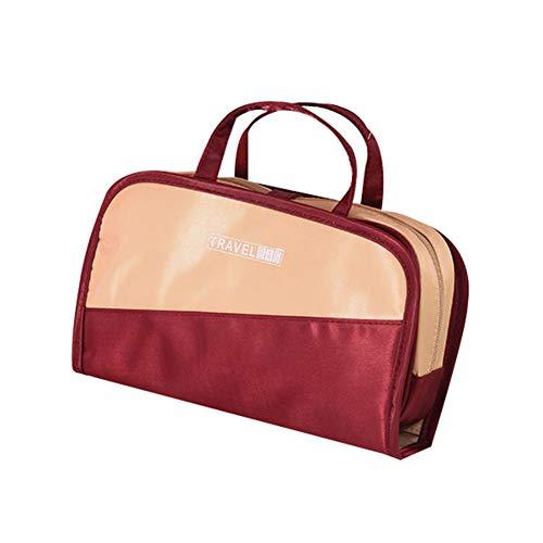 Homeofying 2 En 1 Voyage Portable étanche Couleur Bloc Maquillage Stockage Sac à Main Pochette De Lavage Pour Voyage Kaki + vin rouge