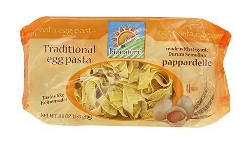 Bionaturae Egg Pappardelle Durum Semolina Pasta | Durum Semolina Egg Pappardelle | Kosher | USDA Certified Organic | Made In Italy | 8.8 oz (6 Pack)
