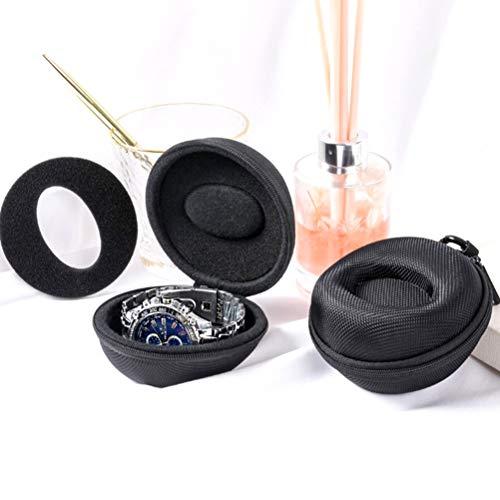 RUIYELE Lot de 2 étuis de transport pour montres avec fermeture éclair en aluminium pour le rangement, boîte ronde rembourrée pour ranger toutes les montres et jusqu à 50 mm (noir)