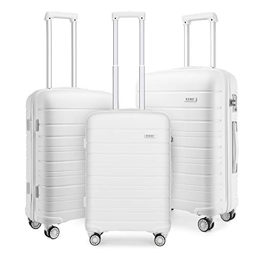 Kono Lightweight Polypropylene Luggage Sets with 4 Spinner Wheels and TSA Lock YKK Zipper Hard Shell Travel Trolley Suitcase (White)