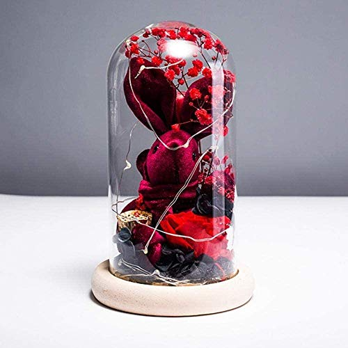 Kyman Valentine s Day Glass Eternal Flower Luminous Rabbit Gift Set Funda para Madre Immortal Day Gift Flower Rabbit Doll (Color: Yh0831a2)-Yh0831a4