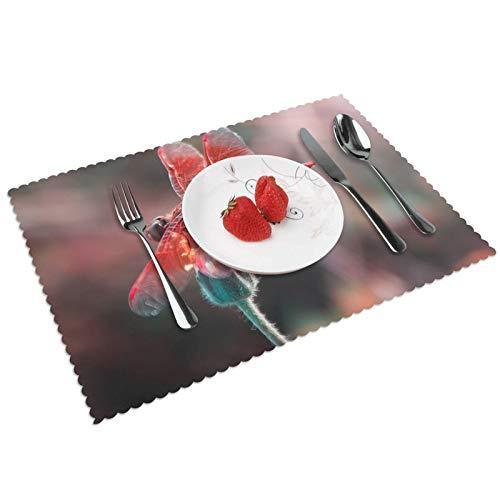 GHRSGBHST Durable Juego de 4 manteles individuales lavables de 30 x 45 cm, antideslizantes, resistentes al calor, para cocina, comedor, fiesta, decoración del hogar, alas de libélula, color rojo