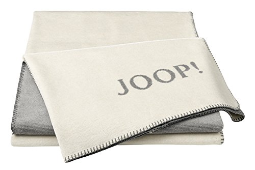 Joop!® Melange-Doubleface I flauschig-weiche Kuscheldecke Natur-Silber I Wohndecke aus Baumwoll-Mischgewebe in Melange-Optik in 150x200cm   nachhaltig produziert in Deutschland I Öko-Tex