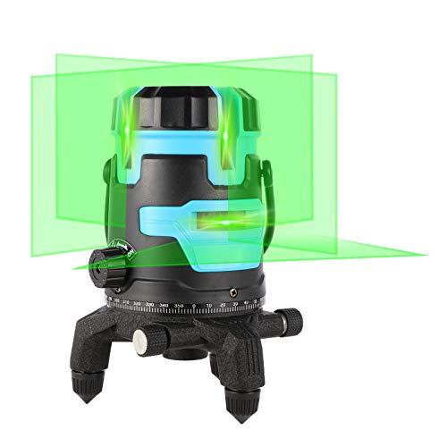 Kraumi Kreuzlinienlaser Laser Grün 25M Selbstnivellierend Linienlaser Umschaltbar Horizontal/Vertikal, 5 Linie laser level IP 54 mit Schutzbrille 2pcs Batterie für Innendekoration
