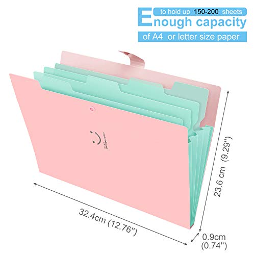 Expanding File Folder 5 Pockets, Skydue Letter A4 Paper Accordion Document Organizer (Pink)